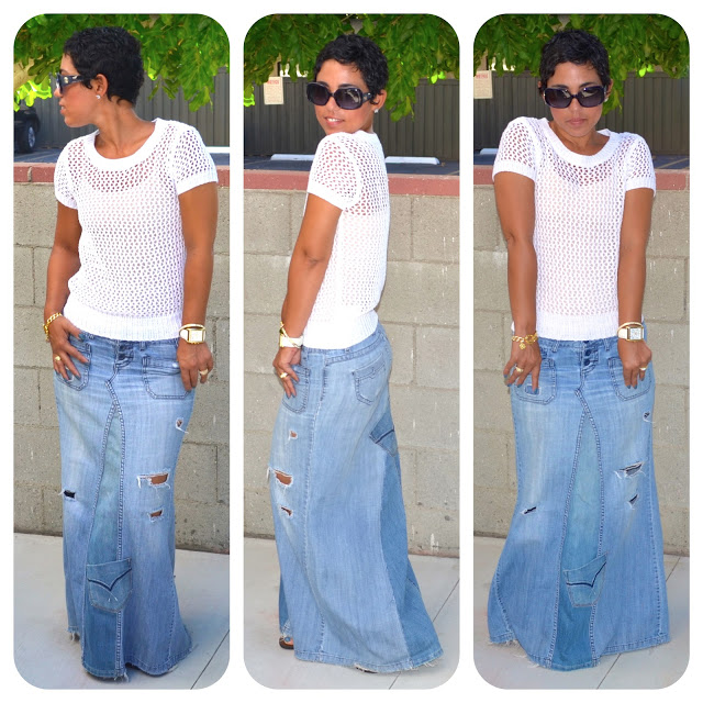Reconstructed Jeans to Maxi Tutorial - Mimi G Style