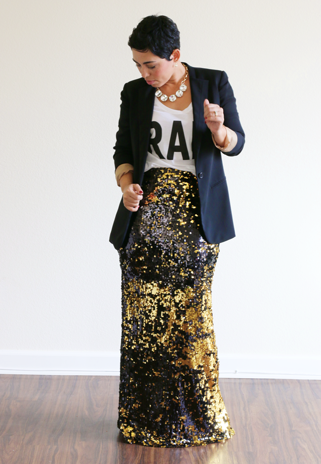 TBT DIY Sequin Maxi Skirt   Free Tutorial - Mimi G Style