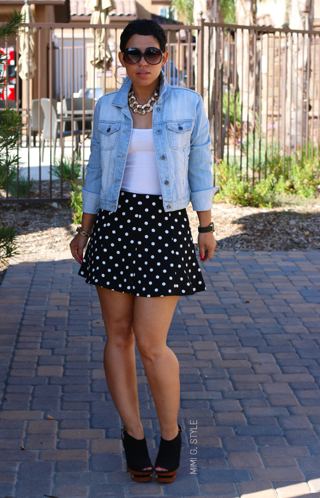 Denim Jacket & Polka Dot Skirt - Mimi G Style