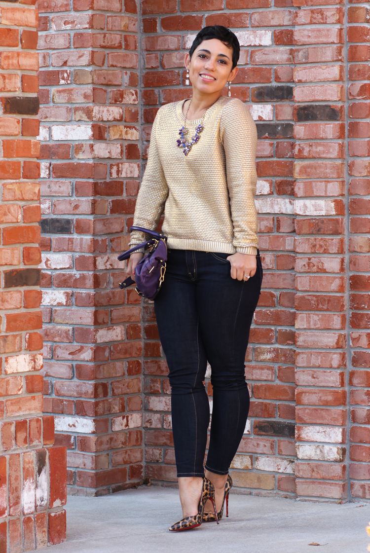 Gold Sweater + Leopard | Mimi G Style