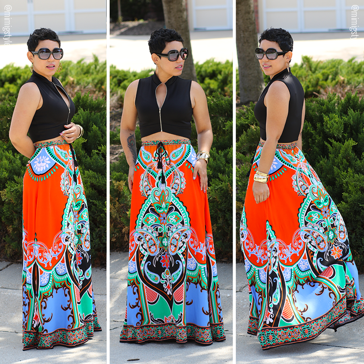 Colorful Maxi Skirt   Crop Top - Mimi G Style