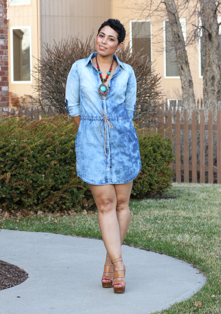 Denim Dress + Chunky Heels | Mimi G Style