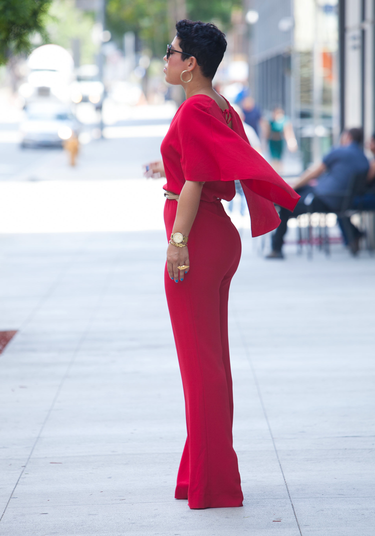 Red Cape Jumpsuit With V Neck Mimi G Style