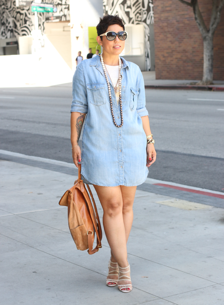 Denim Shirt Dress Leather Backpack Mimi G Style