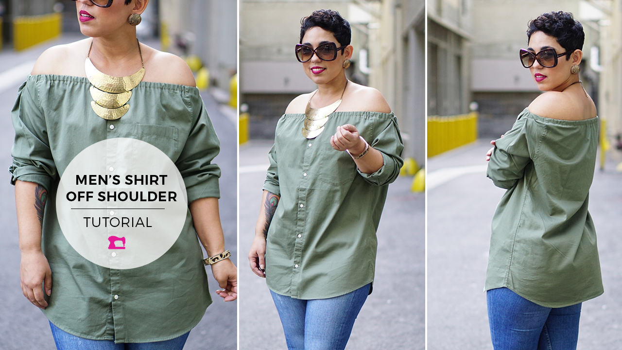 DIY Tutorial: Men's Shirt Into Off Shoulder Button Up - Mimi G Style
