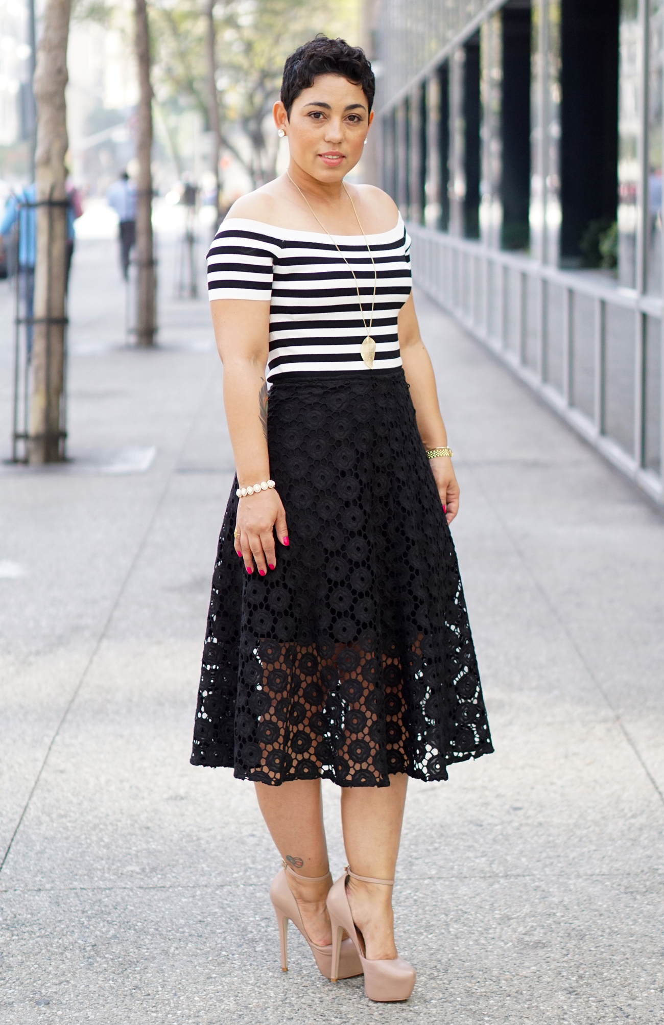 DIY Embroidered Lace Skirt + Striped Top   Mimi G Style