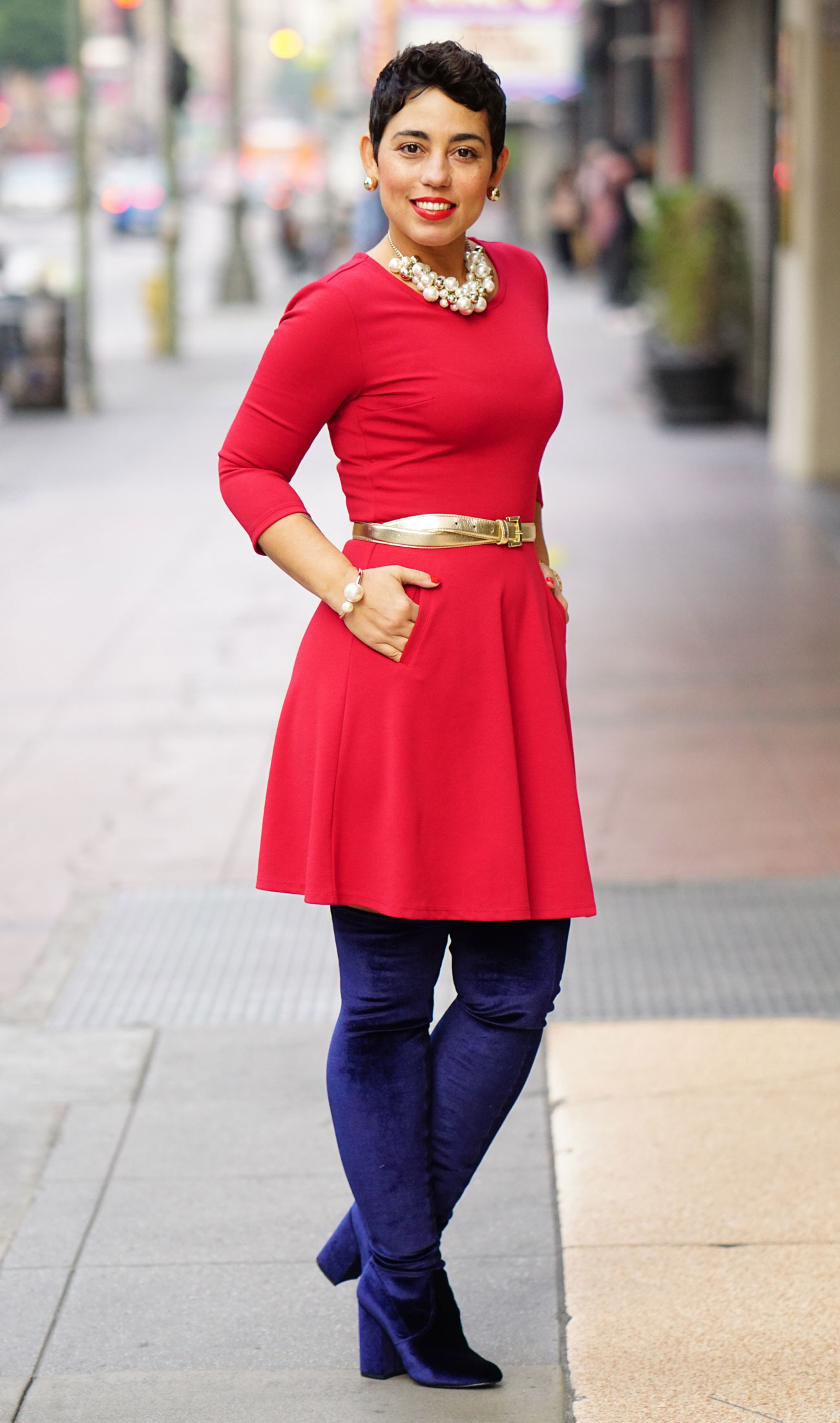 Red Dress Over The Knee Velvet Boots Mimi G Style