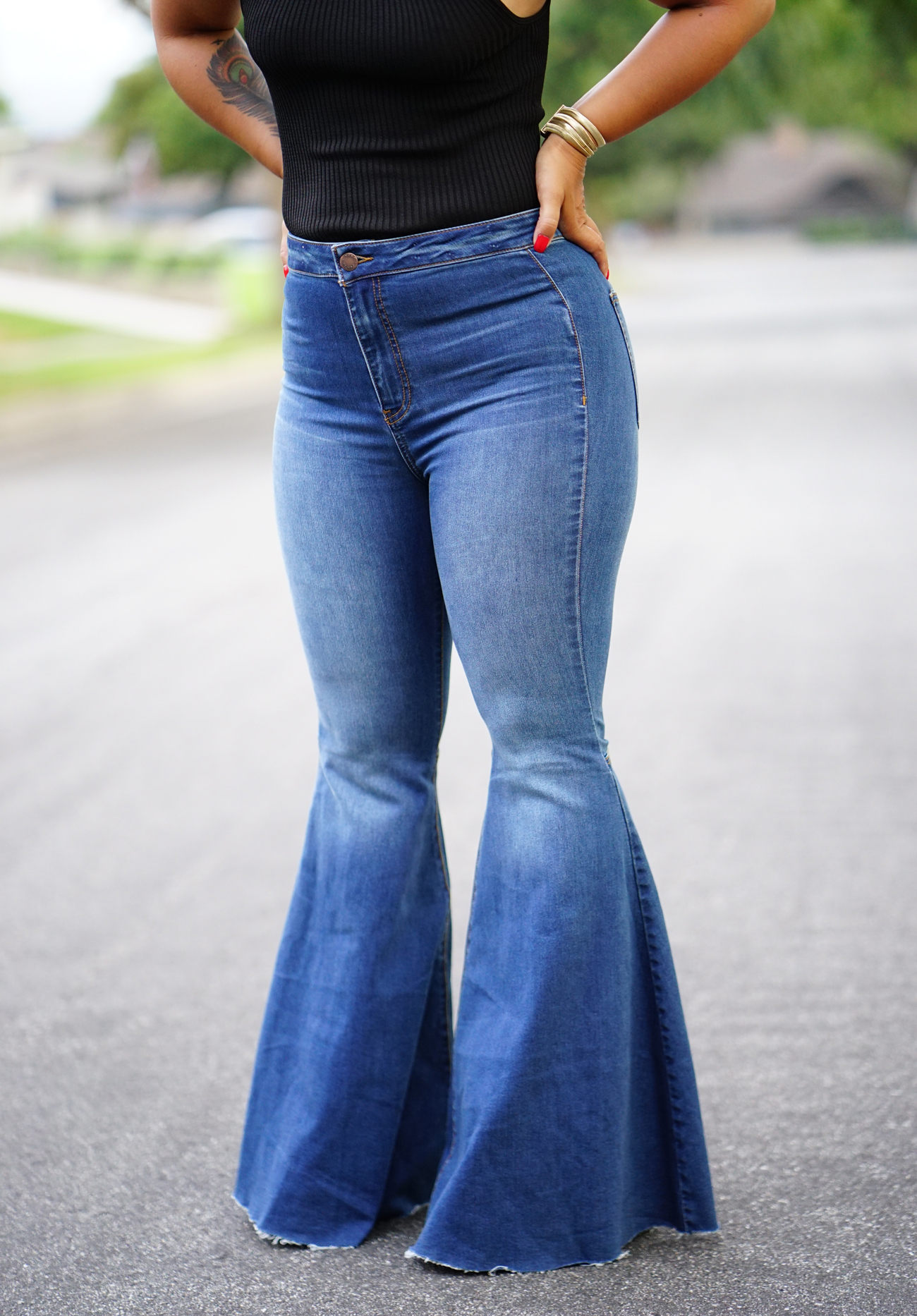 Flared Jeans And Tie Top Mimi G Style