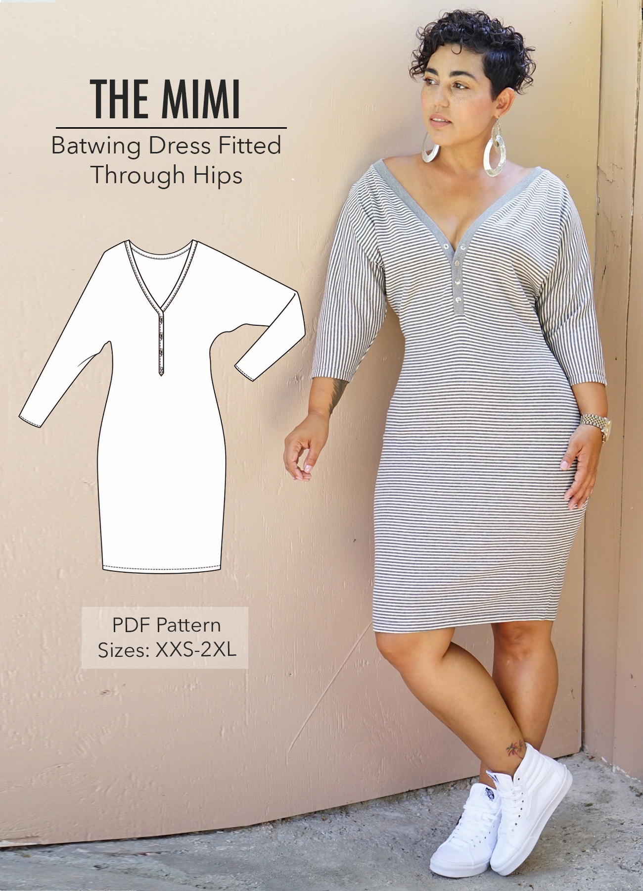 Batwing Dress Pdf Pattern With Only Three Pieces Mimi