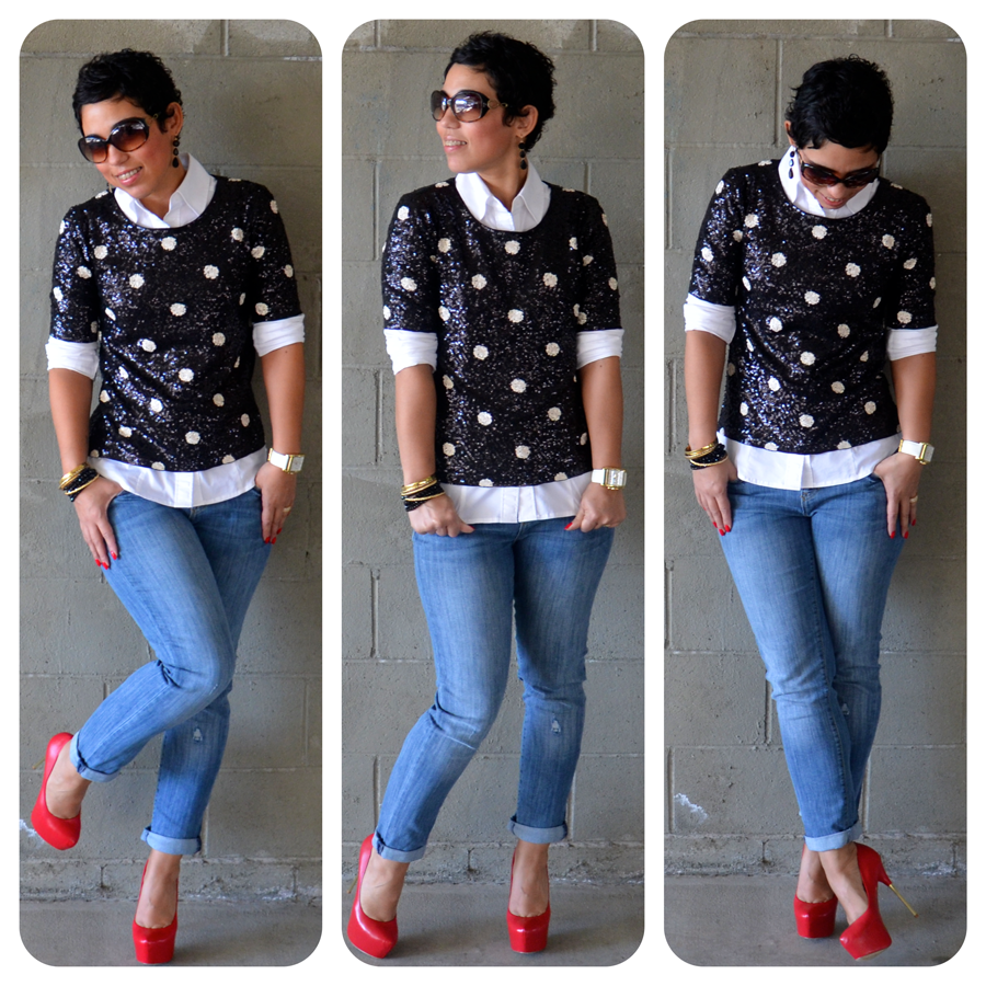 59171dac5c9 OOTD  Daytime Sequins + Red Pumps