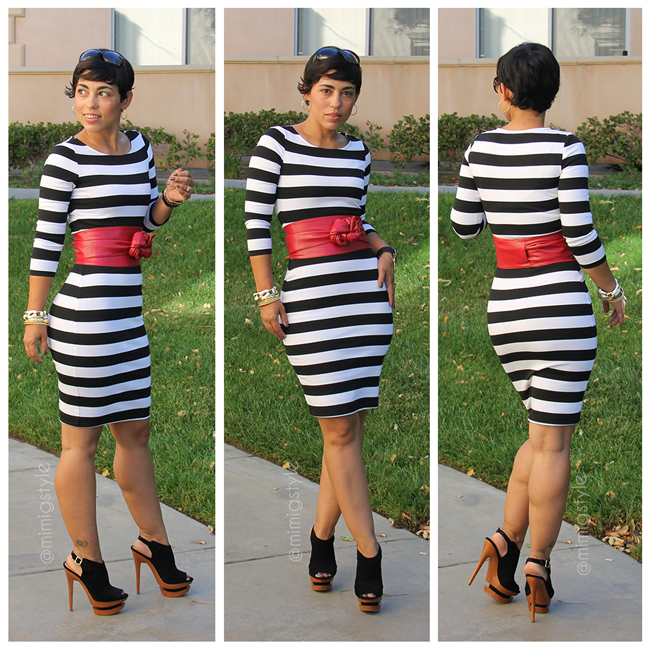 f3886b6b0f DIY Bold Black/White Striped Dress | Mimi G Style