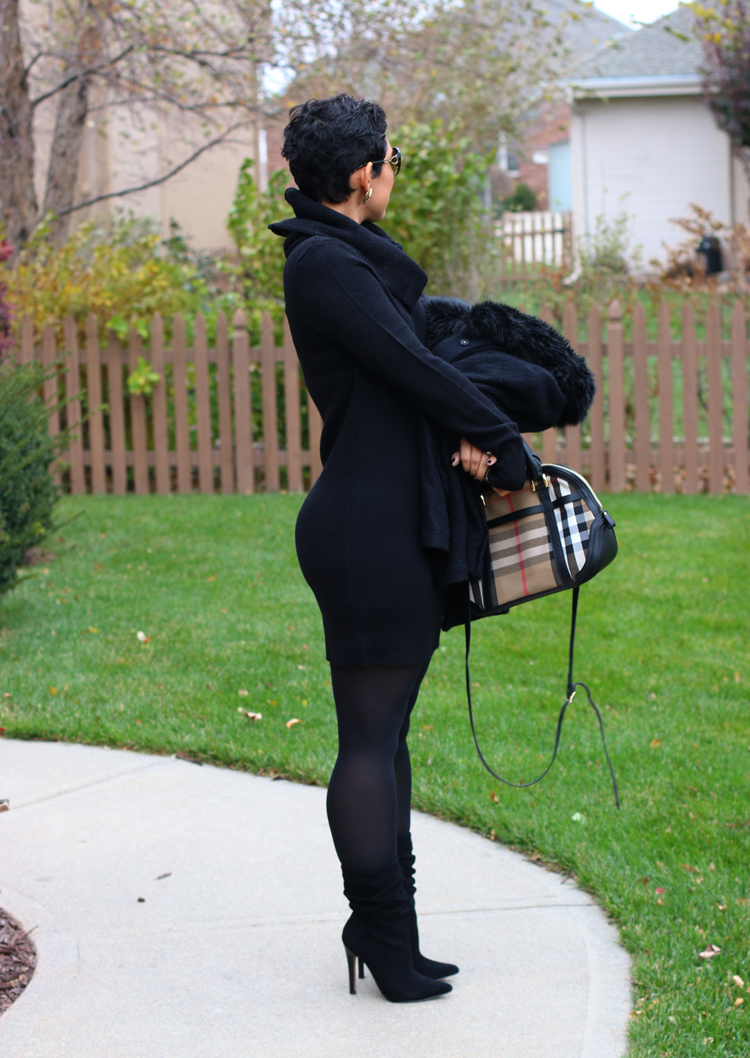 Black Sweater Dress Slouchy Boots Mimi G Style