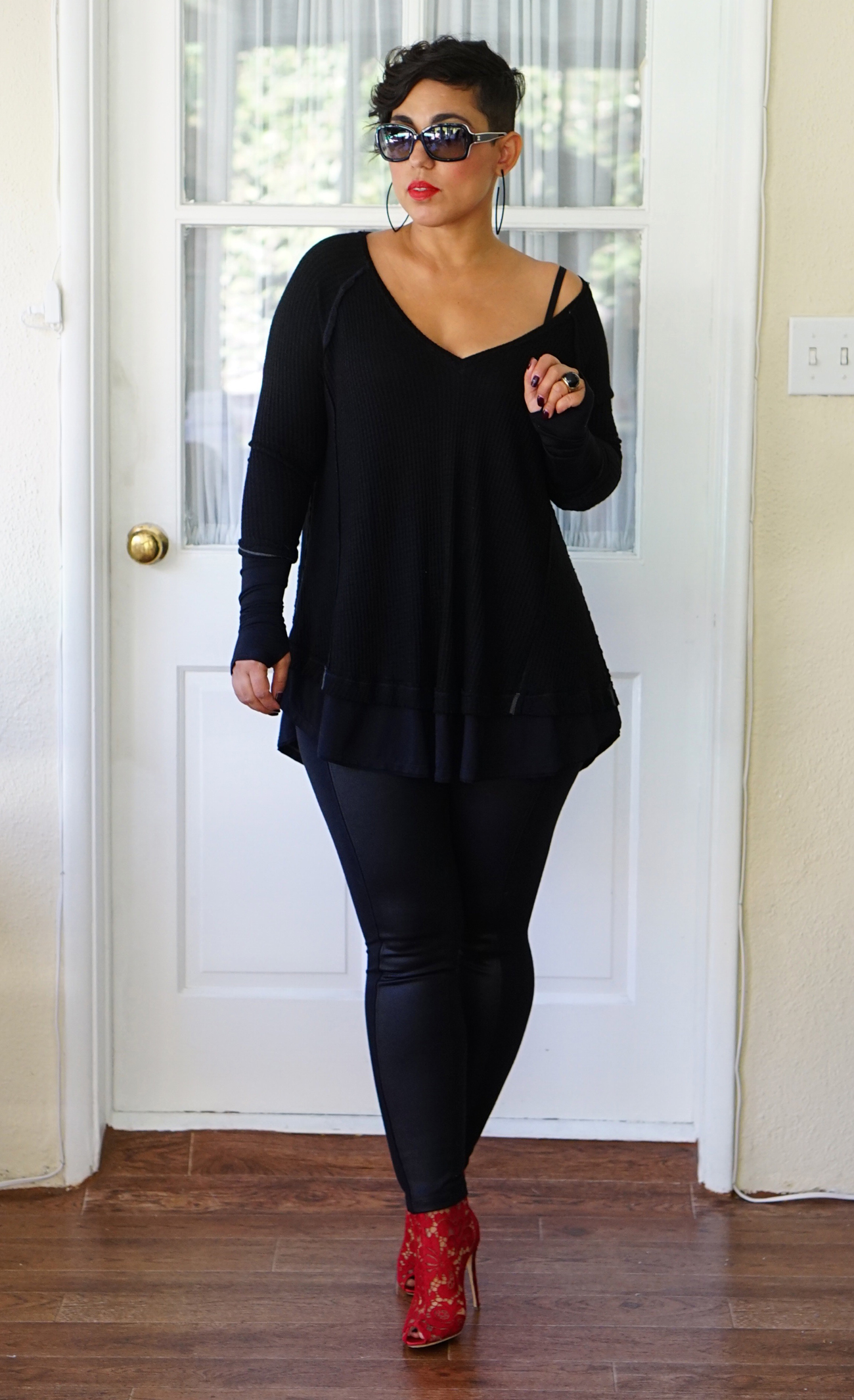 Oversized Tee And Leather Leggings Mimi G Style