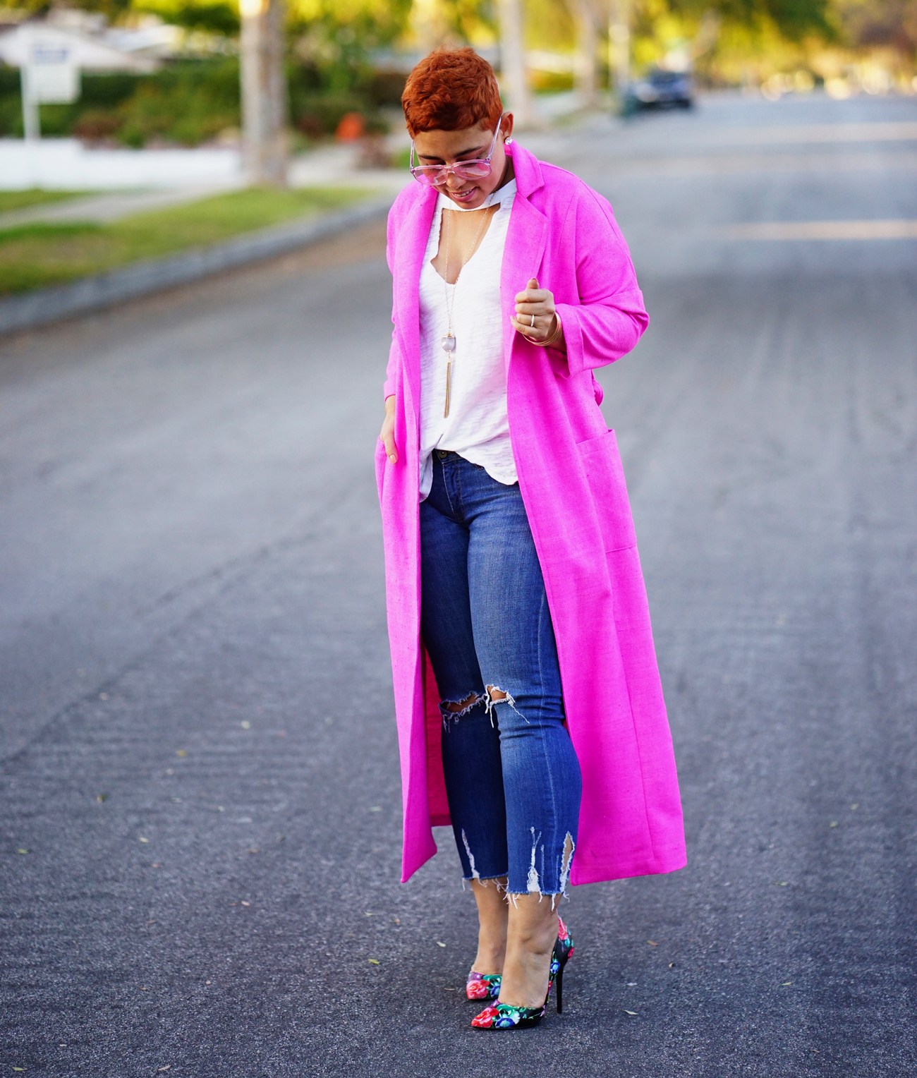 Free People T-shirt and DIY Trench Coat
