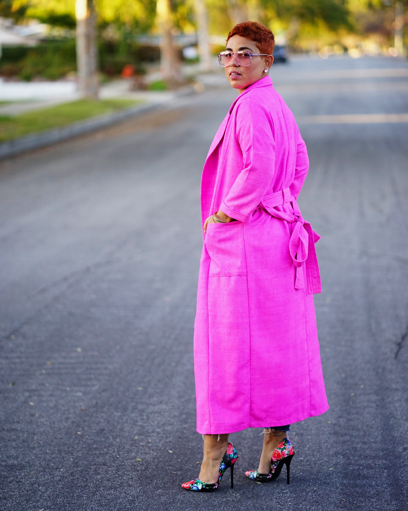 Simplicity 8558 DIY pink trench jacket