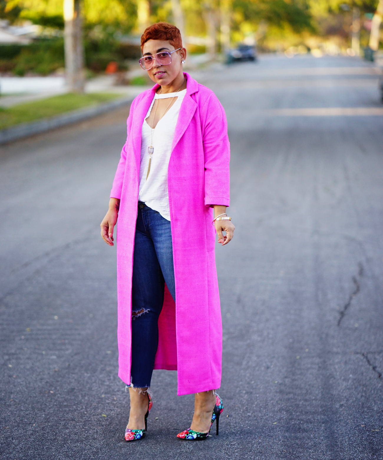 Simplicity 8558 pink trench coat jacket