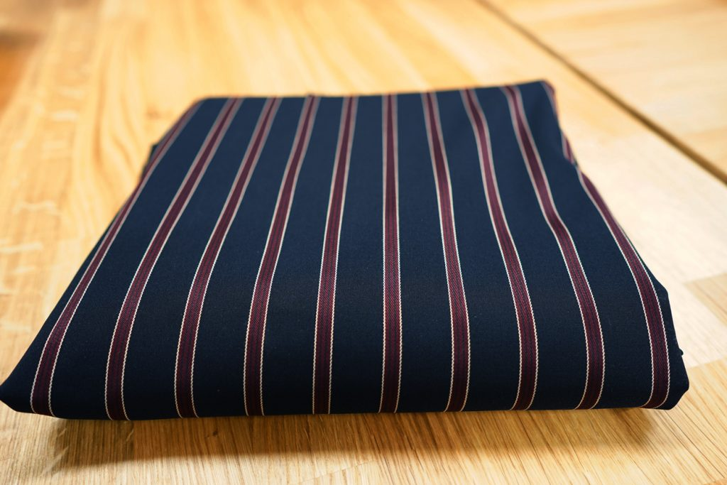 Navy and Burgundy Striped Stretch Suiting